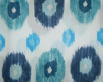 SPECIAL--Navy and Turquoise on White Ikat Print Pure Cotton Sateen Fabric--One Yard