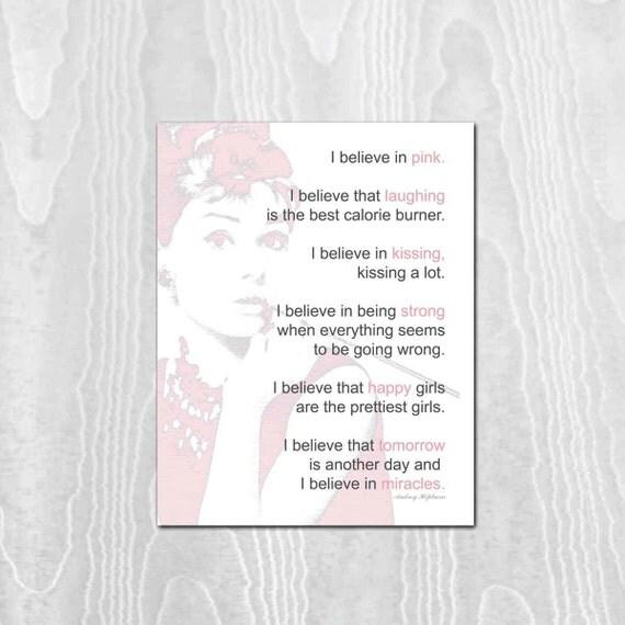 Audrey Hepburn -  Art Print Poster, 11x14 Print, Audrey Hepburn Print, I Believe in Pink, Inspirational, Breast Cancer Awarness
