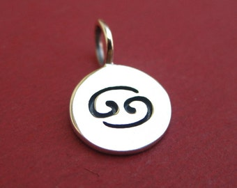 Sterling Silver Stamped Cancer Zodiac Sign Disc Tag Charm