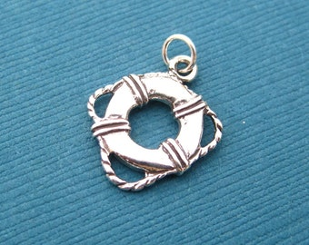 Silver Life Preserver and Rope Pendant Charm