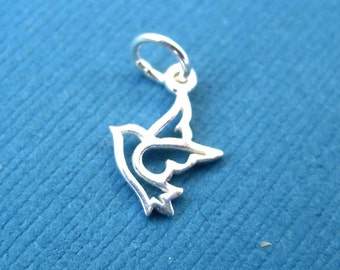 Sterling Silver Small  Openwork Dove  Charm