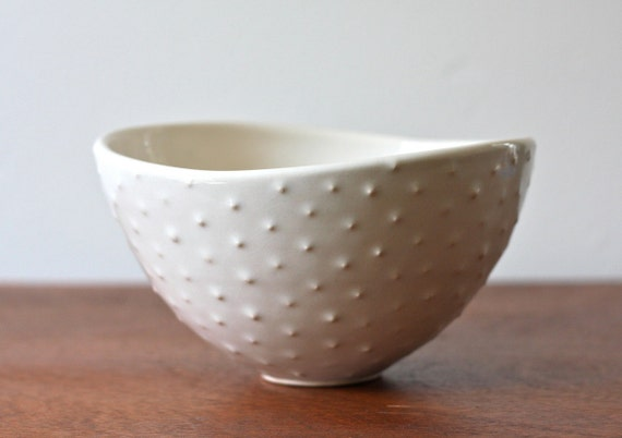 Pottery Serving Bowl - White Polka Dot Bowl - Ceramic Fruit Bowl