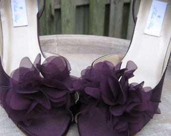 Purple Eggplant Bridal Shoes Purple Wedding Shoes with Organza Flower Design - Over 100 Color Shoe Choices to Pick From