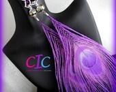 Divalicious Purple Peacock Feather Angel Earrings