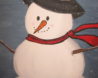 Snowman hand painted on canvas