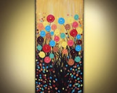 Original painting on canvas modern abstract flowers acrylic 18 x 36 huge