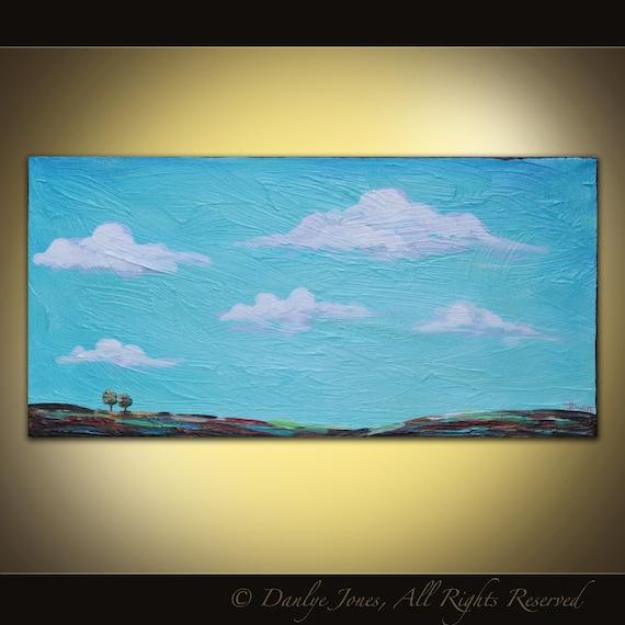 Painting Tuscan Landscape original acrylic on canvas 20 x 10