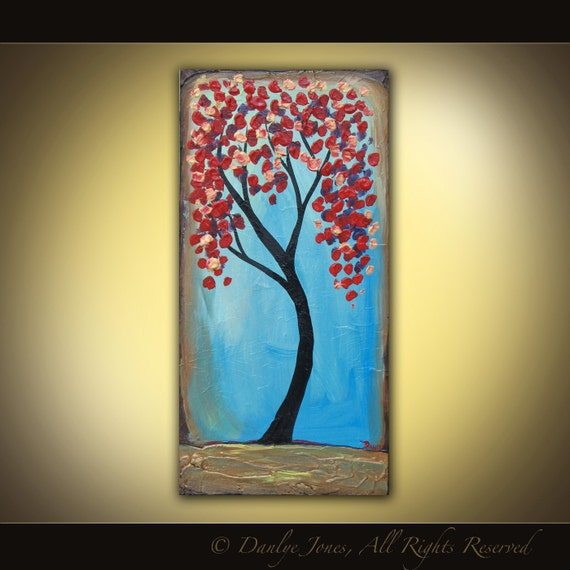 Red Tree on Blue original acrylic painting on canvas