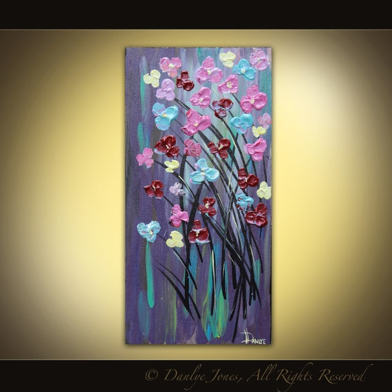 Original flower painting on canvas modern abstract purple acrylic
