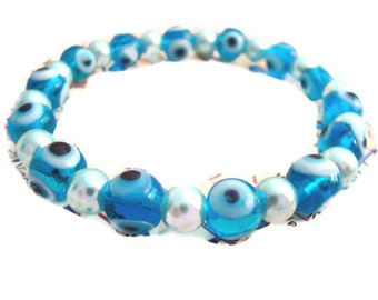 Evil Eye Stretch Bracelet Baby Blue Eyes Nazar Mati Protection