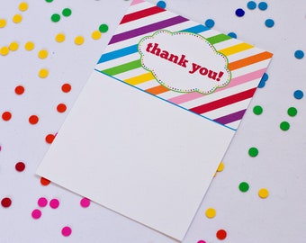 Rainbow Party Thank You Cards - Printable