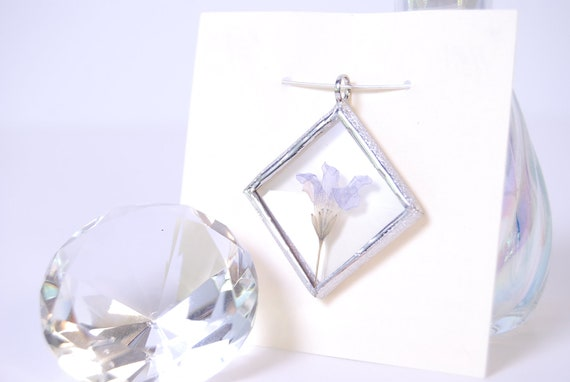 Real Wildflower Necklace Bevel Glass Pendant Real Flower Jewelry Stained Glass (1181)