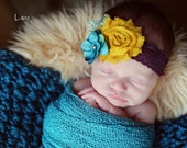 Baby Flower Headband - Newborn Headband - Fall Headband - Mustard Yellow and Teal Shabby Flower Headband