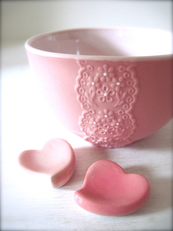 Girly Pink Porcelain Lace Bowl With Heart Cutlery Rest Set