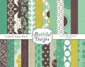Purple Lime and Turquoise Digital Paper Pack Commercial Use