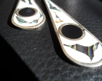 Alpaca Mexico Silver, Abalone, and Black Onyx Earrings