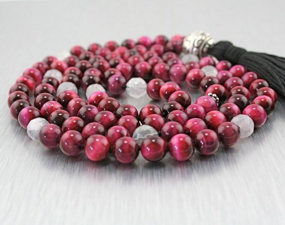 Vitality Mala with Red Tiger Eye, Cape Amethyst, and Silver
