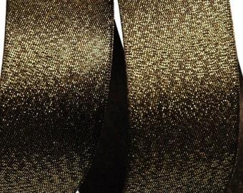 5Yards Metallic Sparkle Dark Brown Satin Ribbon - 15mm(5/8'') , and 25mm(1'') - Glitter Ribbon