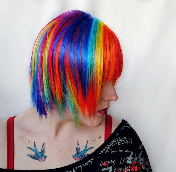 SALE Rainbow wig, scene wig | Gifts for Teens | Blue Purple Pink Yellow Green Hair, cosplay wig / Short Straight // Rainbow Explosion