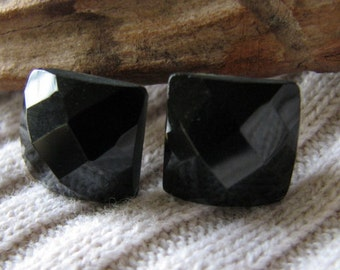 black faceted square post earrings
