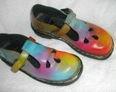 US L 8 - rainbow Mary Jane shoes - English-made - UK 6 - One of a kind