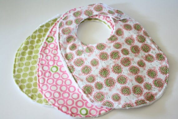 Set of 3 Baby Bibs with Pink and Green Snails, Pink Polka Dots, and Green Polka Dots