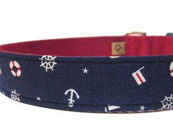 Navy and Red Nautical Ahoy Matey Dog Collar
