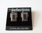 JUDITH JACK sterling silver black onyx earrings. Art Deco style.