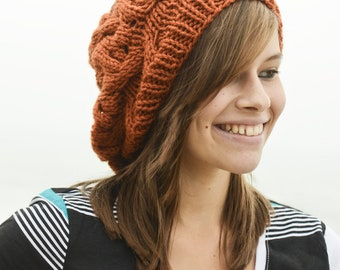 Very Cute Orange Cable Knit Slouch Hat