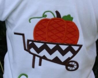 Chevron wheelbarrow pumpkin tee by Gigi Babies