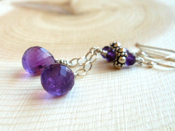 Amethyst Earrings, Dangling Briolettes in Sterling Silver, Purple Stone Earrings
