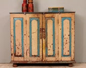 Rustic Distressed Antique Indian Bi-Fold Door Buffet Sideboard Media Console