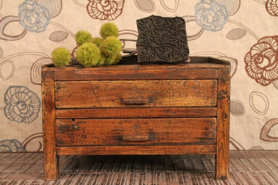 SALE Vintage Indian Distressed Two Drawer Low Storage Art Table