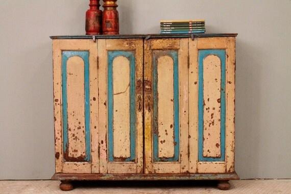 Rustic Distressed Antique Indian Bi-Fold Door Buffet Sideboard Media Console