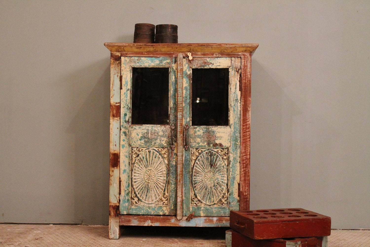 Antique Storage Cabinets Distressed Turquoise Restored Vintage Indian Glass Storage
