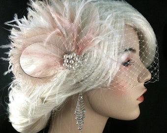 Bridal Feather Hair Clip, Bridal Headpiece, Wedding Fascinator, Feather Fascinator, Ivory and Blush