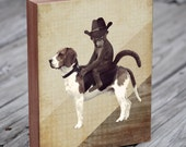 Monkey in Cowboy Hat Riding a Beagle - Wood Block Print
