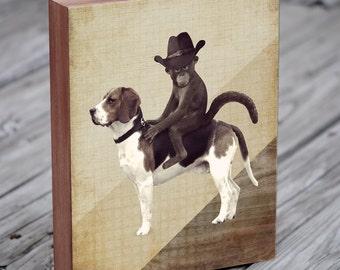 Monkey in Cowboy Hat Riding a Beagle - Monkey Art - Monkey hat- Beagle Art - Wood Block Print