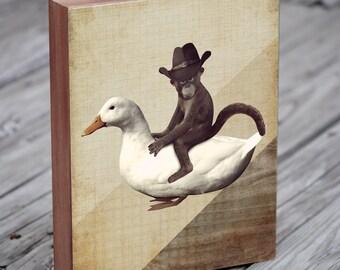 Monkey in Cowboy Hat Riding a Duck - Wood Block Art Print