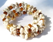 Cowgirl's Autumn Bracelet with White Magnesite & Fall Colored Crystals - Memory Wire