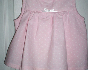 Pink and White Polkdot Romper Size 6 Mos.