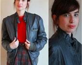 Vintage 80s Leather Jacket  /  Black Members Only Bomber Zip Up Jacket  /  1980s  /  OSFM  /  Unisex