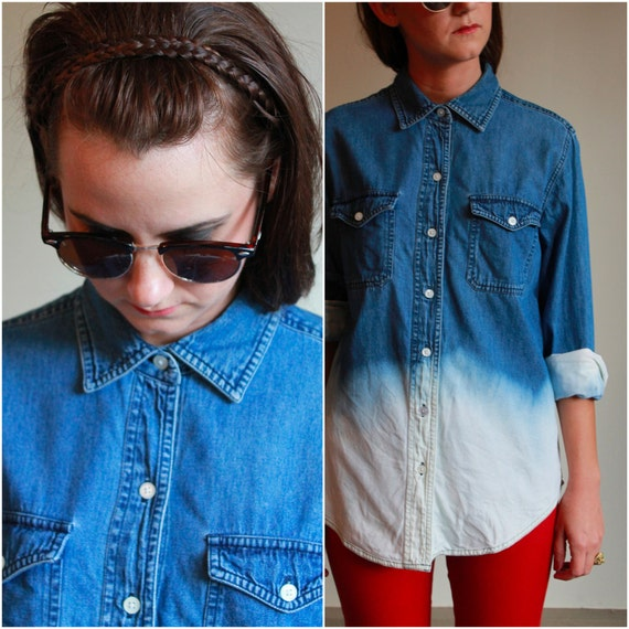 Ombre Denim Button Down Shirt  /  Bleached Dip Button Up Shirt  /  Vintage 80s 90s  / OSMF