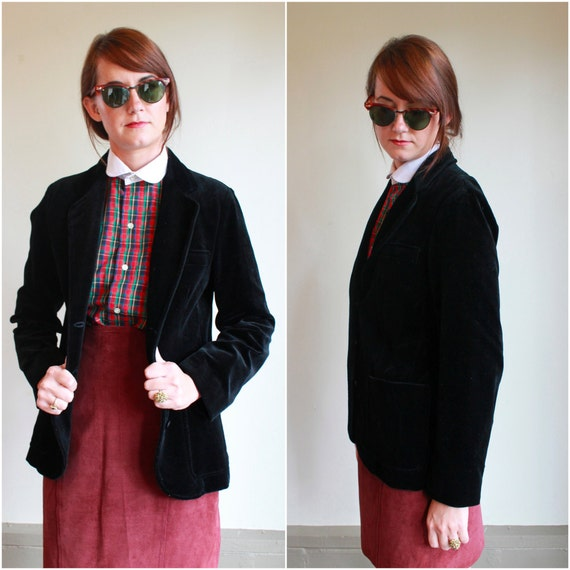 Black Velvet Blazer  /  Vintage 80s Jacket  /  Small S Medium M