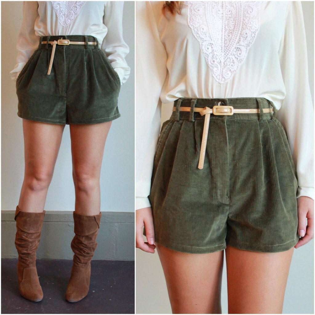 Cotton Corduroy Pleated Shorts / High Waisted Shorts /