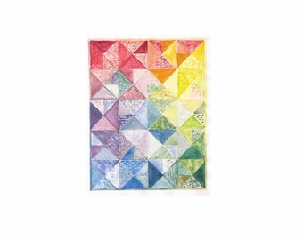 """Rainbow Plan, a 5"""" x7"""" print of a watercolor plan for a quilt, printed on 8""""x10"""" paper"""