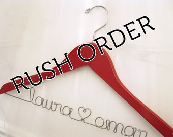 Personalized Wedding Hanger Custom Painted Color - RUSH ORDER