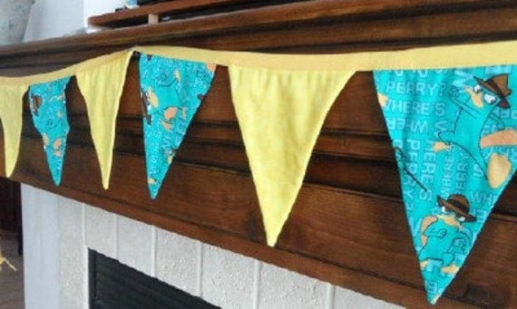 Perry Platypus From Phineas and Ferb  Bunting Decoration Pendant Flag Fabric Banner 17 Flags 12 FT Garland Re-Usable