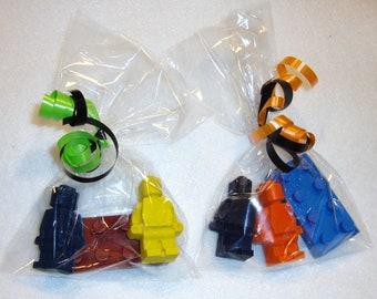 10 Packs - Lego Style Minifigures and Block Crayon Set (30 Crayons)