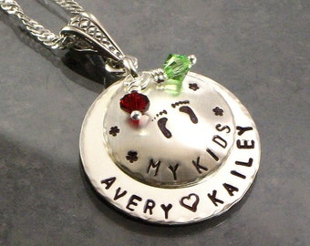 """Personalized Mommy Necklace with Baby Feet - """"My Kids"""" Sterling Silver Pendant -  Hand Stamped - Names - Footprints -  Mom for Christmas"""